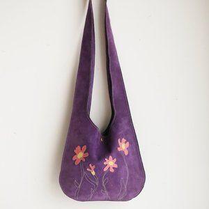 Vintage All Suede Floral Detail Crossbody Boho Festival Bag